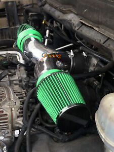 Green Dual Twin Air Intake System Kit For 2002 2003 Jeep Liberty 3 7l V6
