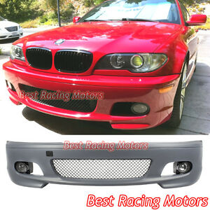 M tech Ii Style Front Bumper Glass Fog Fit 00 06 Bmw E46 3 series 2dr Coupe