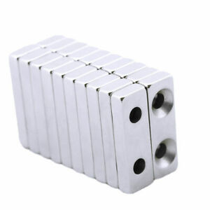 N35 Strong Block Hole Magnets Rare Earth Neodymium 2 Countersunk Gifts 30 10 5mm