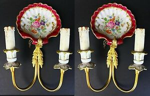 Pair Antique Brass And Hand Painted Porcelain Wall Sconces