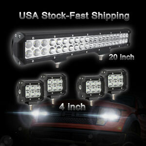 20 Off Road Cree Led Light Bar 4x 4 Inch Cree Led Work Lights Pods Truck Jeep