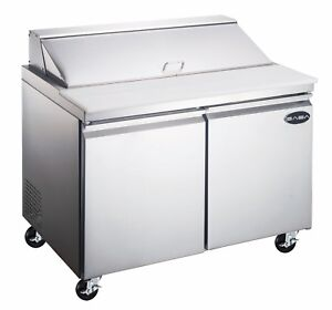 Saba 60 Commercial Food Prep Table Refrigerator 2 Door Stainless Steel 16 Pans