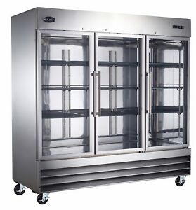Saba Heavy Duty Commercial Stainless Steel Reach in Refrigerator 3 Glass Doors
