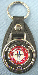 Red White Ford Mustang Mini Steering Wheel Leather Keyring 1968 1969 1970 1971