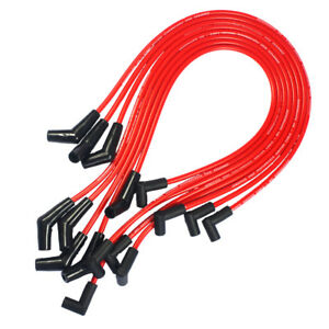 Hei Red Spiral Core Spark Plug Wires 45 Degree End For Bbc Chevy 396 427 454 502