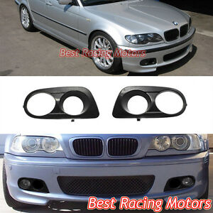 Dual Hole Air Duct Fog Covers abs Fits Bmw E46 3 series M tech Ii Front Bumper