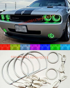 Rf Rgb 6 Halo Rings For Dodge Challenger 08 14 Fog Light Headlight Led Angel Eye