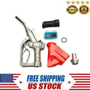 Fuel Delivery Gun Gasoline Diesel Petrol Transfer Nozzle W Digital Flow Meter