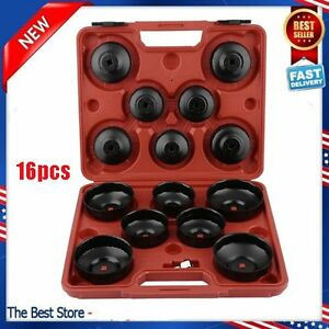 15pcs Cup Type Oil Filter Cap Wrench Socket Removal Tool Set W Case 3 8 Drive H