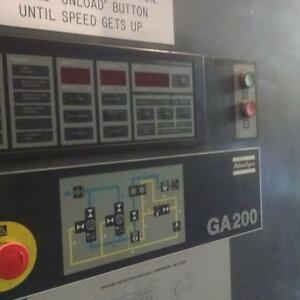 Used 250 hp Atlas Copco Ga200 Rotary Air Compressor Air Cooled 460 volt