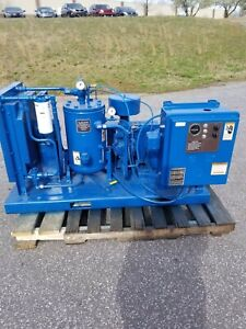 Used 20 hp Curtis Piston Air Compressor With Starter On Skid Mount