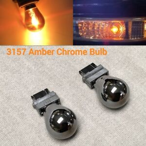 T25 3157 3457 4157 Amber Silver Chrome Bulb Front Turn Signal Light For Ford