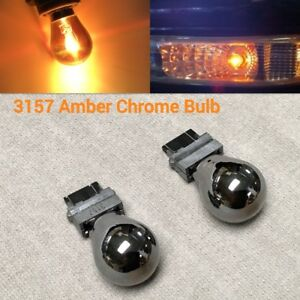 T25 3157 4157 Amber Silver Chrome Bulb Front Signal Light For Dodge