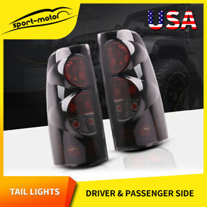For 99 06 Chevy Silverado 99 03 Gmc Sierra Tail Lights Black Smoke Rear Lamps