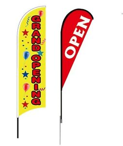 Banner Flag Advertising Pole Set Outdoor Retail Open Feather Teardrop Business