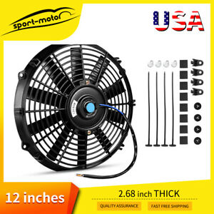 12 Inch Universal Slim Pull Push Electric Radiator Cooling Fan 12v Mount Kit