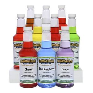 Hawaiian Shaved Ice 10 Flavor Pack Of Snow Cone Syrups Free Shipping