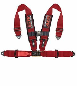 4 Point Racing Harness Sfi Latch Link 3 Seat Belt Red