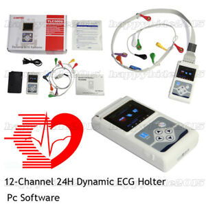 24h Dynamic Ecg Holter System 12 Channel Ecg ekg Holter Recorder software
