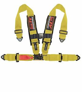 Universal Yellow 4 Point Latch And Link Racing Seat Belt Harness Sfi