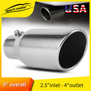 4 Inlet 7 Outlet 18 Inch Long Exhaust Tip Tailpipe 45 Slant Angle Cut