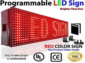 Electronic 6 X 189 Programmable 10mm Led Sign Red Color Outdoor Scrolling Text