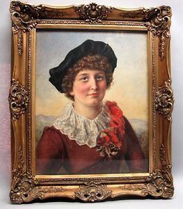 Fine 19th C English Watercolor Painting Of Victorian Girl C 1885 Antique