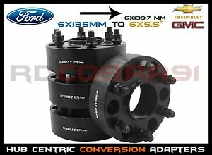 Complete Set Of 2 Thick Ford To Chevy Black Hub Centric Wheel Spacers Adapters
