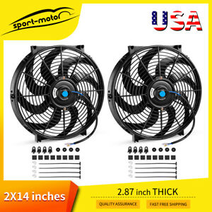 2x14 Electric Cooling Slim Fan Universal Reversible Radiator Kit 12v For Truck