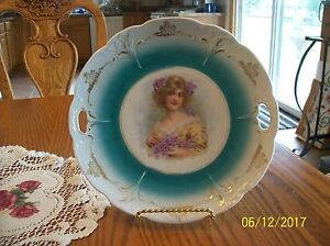 Cake Plate Double Handle Porcelain China Antique Victorian Lady