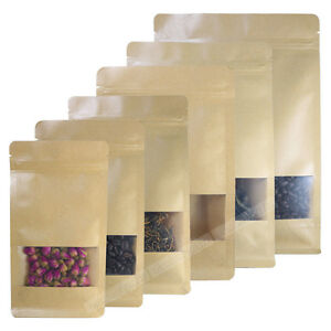 100 Assorted Size Kraft Paper Stand Up Zip Lock Gusset Side Bag Pouch W Window