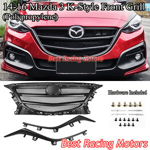 K Style Front Honeycomb Mesh Grill Black Fits 14 16 Mazda 3 4 5dr