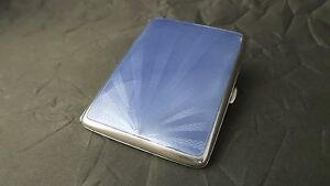 Antique 20th Century Art Deco Guilloche Enamel 900 Silver Cigarette Case