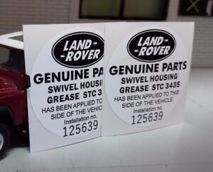 Land Rover Defender 90 110 Tdi Early Stc3435 Swivel Grease Parts Sticker Decals