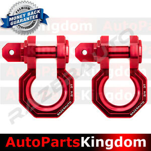 1 Pair 3 4 Red 3 0 Ton Aluminum D ring Bow Shackle Heavy Duty Off Road Atv Rv