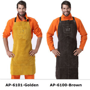 Ap 6100 42 Full Cowhide Leather Welding Bib Blacksmith Apron W Pocket 2 Colors