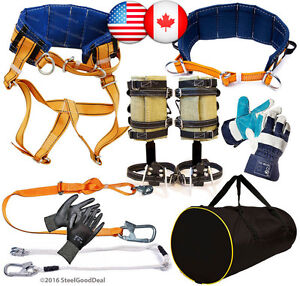 Tree Climbing Spike Set Gaffs Spurs Saddle Safety Belt 2lanyard 2gloves Gear Bag