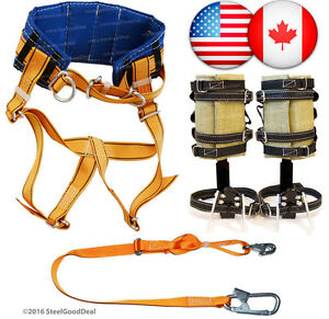 Tree Climbing Spike Set Spur Gaffs Adjustable Safety Lanyard Harness Belt Saddle