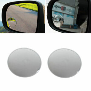 360 Frameless Wide Angle Round Convex Blind Spot Rearview Mirror 1 Pair