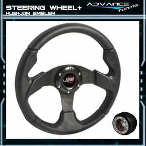 Fits 320mm Black Pvc Leather Stitch 6 Bolt Steering Wheel Jdm Horn Hub Adapter
