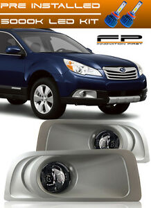For 2010 2011 2012 Subaru Legacy Outback Led Fog Lights Clear Lamps Complete Kit