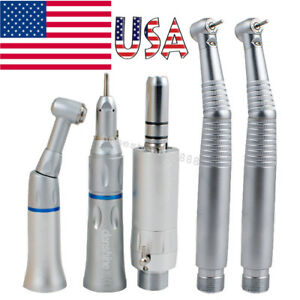 Dentist Dental E generator Led High Low Speed Handpiece Kit Push 2 Hole Fit Nsk