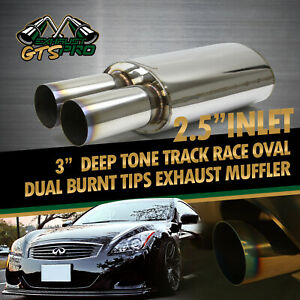 Tracker Style For Bimmer 1x Sport Race Oval Exhaust Muffler Dual Burnt Tips