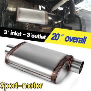 Single Center 3 Inlet offset Outlet Straight through Perforated Exhaust Muffler