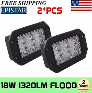 2x 6inch 18w Flush Mount Flood Led Work Light Offroad Boat Truck 4wd Rectangle