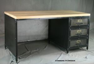 Modern Industrial Desk With Drawers French Industrial Design Urban Office
