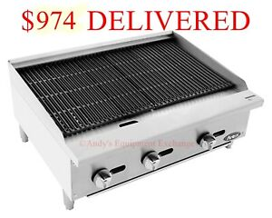 36 Inch 3 Foot Wide Radiant Char Broiler Natural Gas Counter Or Table Top
