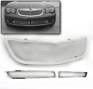 2004 2008 Chrysler Crossfire Chrome Main Upper Bumper Grille Grill Insert 3pcs