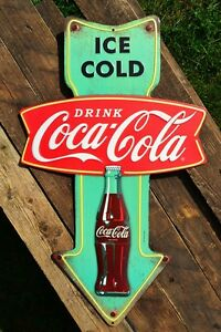 Drink Coca-Cola Embossed Arrow Tin Metal Sign - Ice Cold Coke Bottle - Fishtail