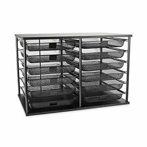 Desk Organizer Mesh Drawer Letter File Tray 12 Compartment Storage Stackable New